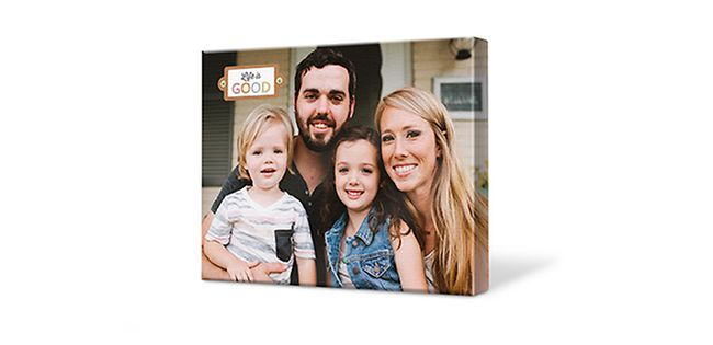 Smiling family on photo canvas