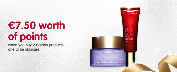 7.50 worth of Advantage Card Points when you buy 2 selected Clarins, one to be skincare