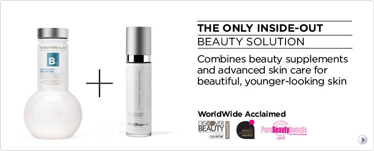 The only inside-out beauty solution. Combines beauty supplements and advanced skincare for beautiful, younger looking skin