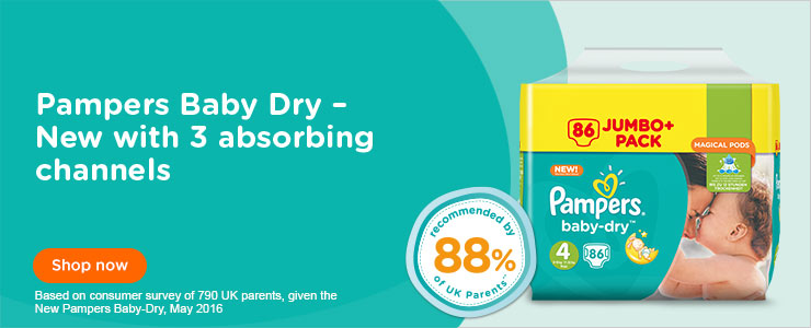 Pampers Baby Dry Nappies - New with three absorbing channels