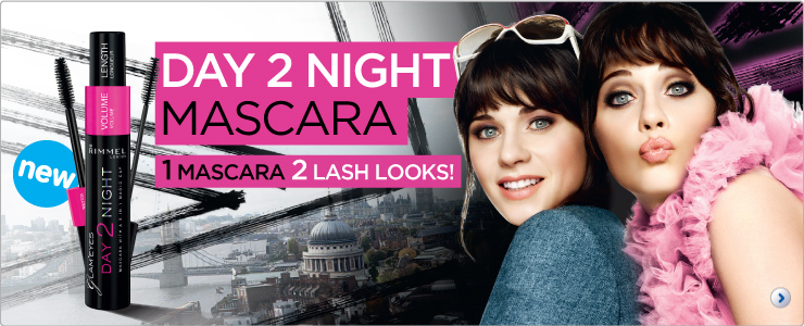 Rimmel Day 2 night mascara 2 looks 1 mascara