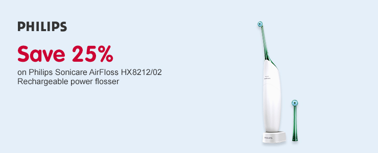 Save 25% on Philips Sonicare AirFloss HX8212/02 Rechargeable Power Flosser