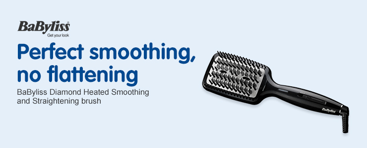 Perfect Smoothing, No Flattening BaByliss Diamond Heated Smoothing and Straightening Brush