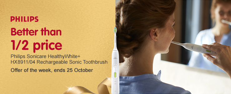 Better than 1/2 price on Philips Sonicare HealthyWhite rechargeable Sonic toothbrush