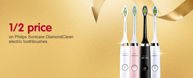 1/2 Price  across Sonicare Philips Diamond clean electric toothbrushes
