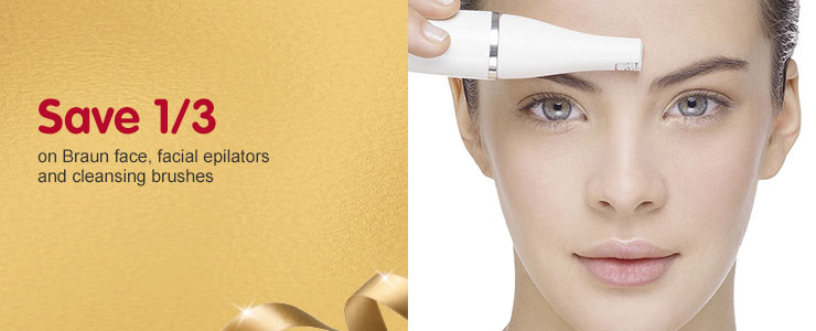 Save 1/3 Braun face, facial epilators and cleansing brushes