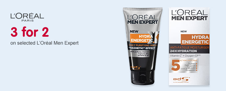 3 for 2 on selected Loreal Men Expert