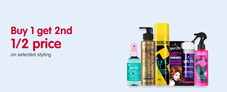 Buy one get second 1/2 price on selected styling