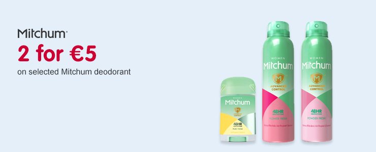 2 for 5 Euros on selected Mitchum deodorants