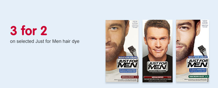 3 for 2 on selceted Just for Men hair dye