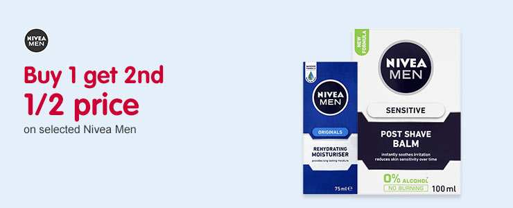 Buy one get one 1/2 price on selected Nivea Men