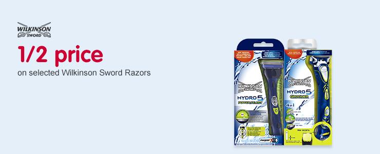 1/2 price on selected Wilkinson Sword Razors