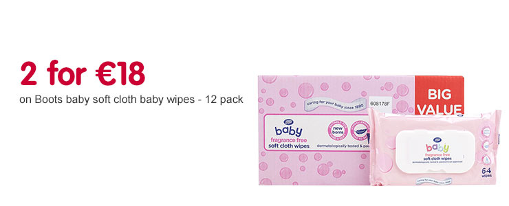 2 for 18 Euros on Boots baby wipes 12 pack