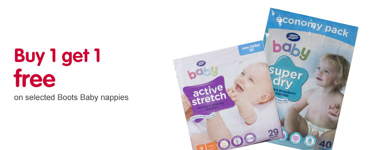 Buy 1 get 1 free selected Boots nappies