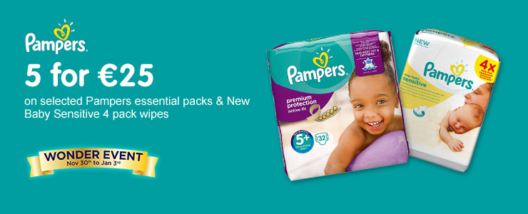 5 for 25 Euros on selected Pampers Essential Packs & New Baby Sensitive 4 pack wipes