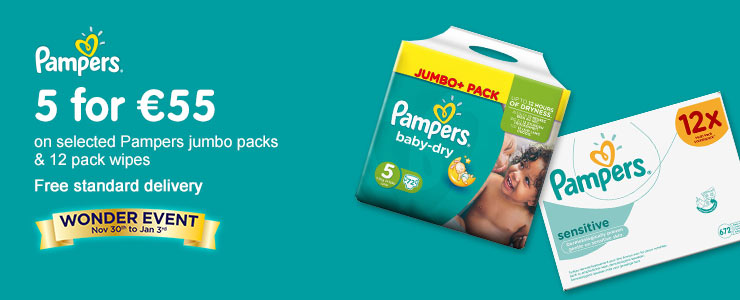 5 for 55 Euros on selected Pampers Jumbo Packs & 12 pack wipes