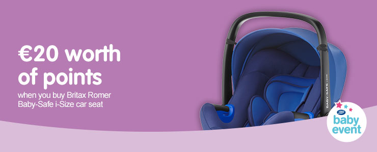 20 Euros worth of points when you buy selected Britax Romer i-Size car seat