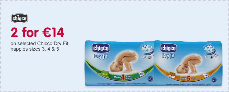 2 for 14 Euros on selected Chicco Dry Fit nappies sizes 3, 4 & 5