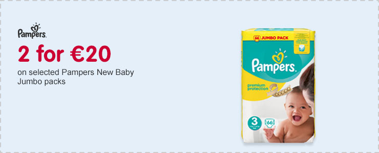 2 for 20 Euros on selected Pampers New baby Jumbo Packs