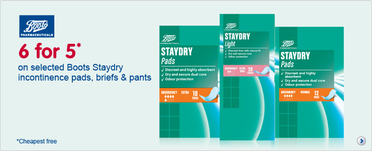 Six for five on selected Boots Staydry incontinence pads, pants and briefs
