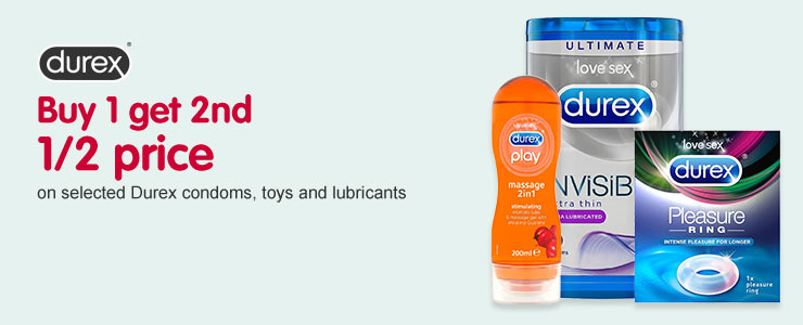Durex BOGSHP on selected Durex condoms, toys and lubricants