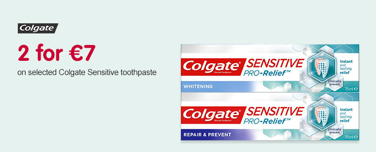 2 for €7 on selected Colgate Sensetive tooth paste