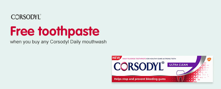 Free Corsodyl toothpaste when you buy any daily mouthwash