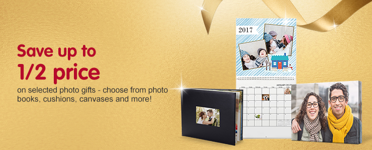 Save up to 50% on selected Photo Gifts