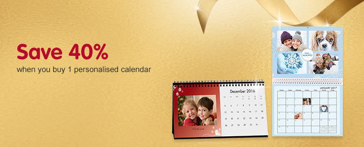 Save 40% when you buy a personalised calendar