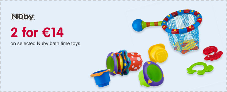 2 for 14 Euros on selected Nuby bath time toys