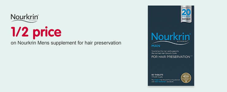 1/2 price on Nourkrin Mens supplment for hair preservation