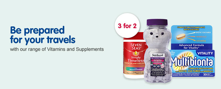 Be prepared for your travels with our range of Vitamins and Supplements