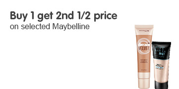 Buy 1 get 2nd half price on selected Maybelline ROI