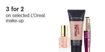 3 for 2 on selected L'Oreal make up ROI