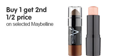 Buy 1 get 2nd half price on selected Maybelline cosmetics ROI