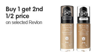 Buy 1 get 2nd half price on selected Revlon ROI