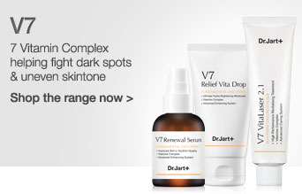 Dr Jart V7. Seven vitamin complex helping fight dark spots and un even skin tone. Click here to visit the range now