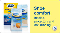 Scholl shoe comfort, insoles, protectors and anti-rubbing