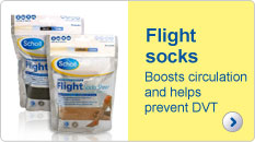Scholl flight socks boosts circulation and helps prevent DVT