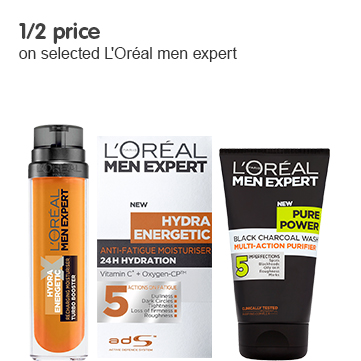1/2 price on selected Loreal men expert