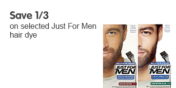 Save 1/3 on selected Just For Men hair dye