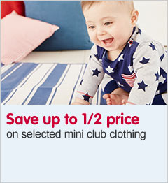 Save up to half price on selected mini club clothing