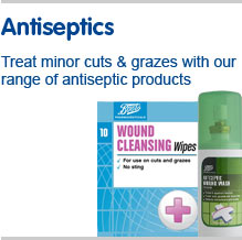 Antiseptics. Teat minor cuts and grazes with our range of anitseptic products