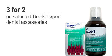 3 for 2 - cheapest free on selected Boots Expert Dental accessories