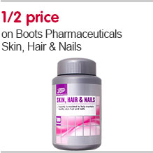 1/2 price on Boots Pharmacetuicals Skin, Hair & Nails