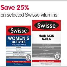 Save 25 percent on selected Swisse vitamins