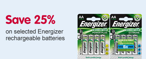 Save 25% on selected Energizer rechargeable batteries