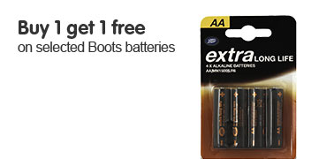 Buy 1 get 1 free on selected Boots batteries