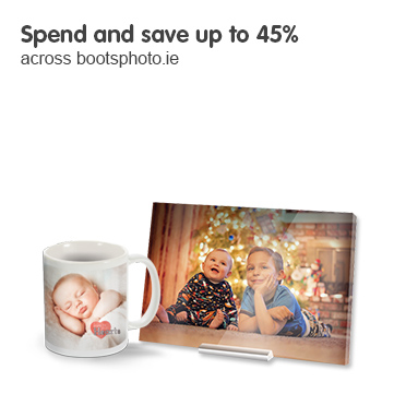 Spend and Save up to 45% across bootsphoto.ie