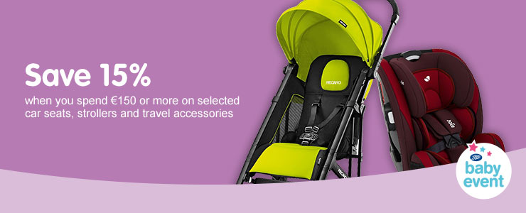 Save 15 percent when you spend 150 euros and more on car seats, strollers and travel accessories